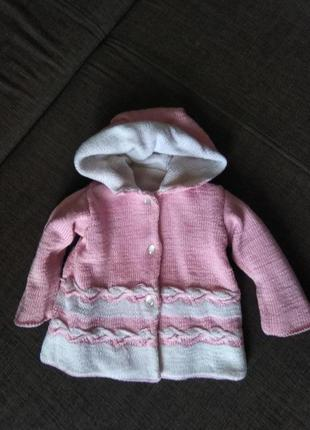 Двухсторонняя теплая кофта-пальто вязаная, 1,5-2 года