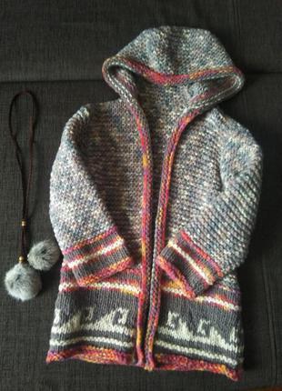 Вязаное пальто, кардиган для девочки  + подарок 5-7 лет