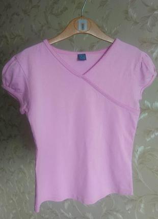Красивая розовая английская футболка tu на девочку 6-9 лет