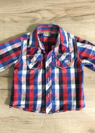 Рубашка для мальчика в клетку 1-1,5 года с длинным рукавом