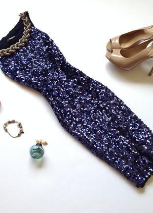 Вечернее синее платье мини в пайетки quiz