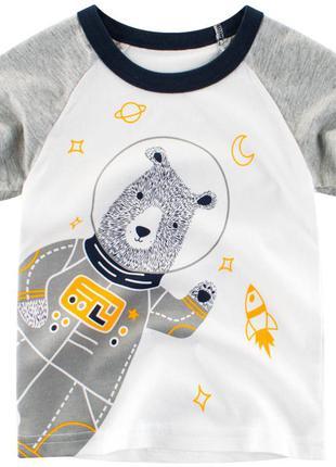 Футболка для мальчика, белая. медведь - космонавт.