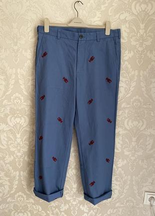 Brooks brothers синие мужские брюки чиносы с вышивкой лобстер ...
