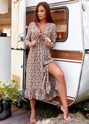 Платье штапель коричневый