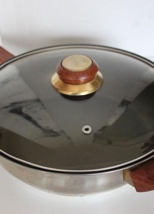 Сковорода тефлоновая сотейник Стеклянная Крышка
