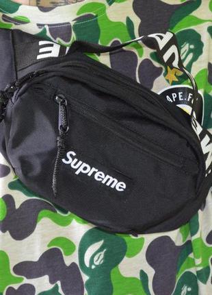Поясная сумка supreme  black бананка барсетка суприм черная му...