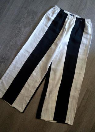 Дизайнерские льняные широкие штаны,кюлоты в полоску,ralston de...
