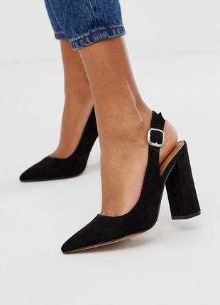Милые туфли asos design penley slingback high heels in black
