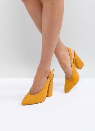 Милые туфли raid brook yellow block heeled shoes