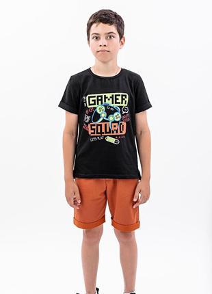 Костюм футболка и шорты для мальчиков, коричневый