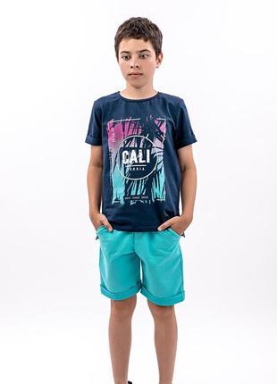 Костюм футболка и шорты для мальчиков, бирюзовый
