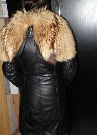 Пальто мех енот + натуральная кожа кожав груди до 87 см