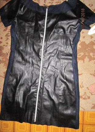 Маленькое платье с вставками с эко кожи р хс