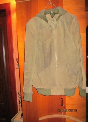 Кожаная куртка утепленная -цвет оливка