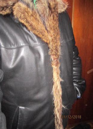 Кожаная куртка с мехом волка дубленка
