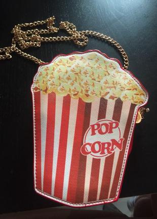Сумка клатч попкорн на цепочке