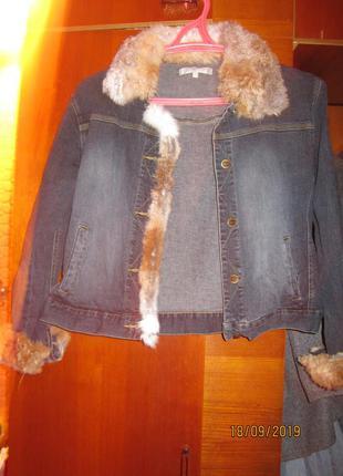 Джинсовая куртка с мехом кролики