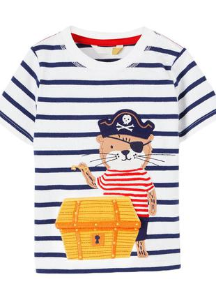 Футболка для мальчика, синяя. тигр пират.