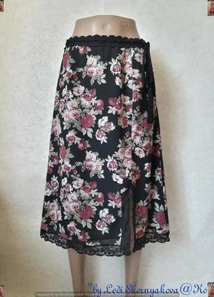 Фирменная comma юбка-миди с кружевными вставками в цветах, раз...