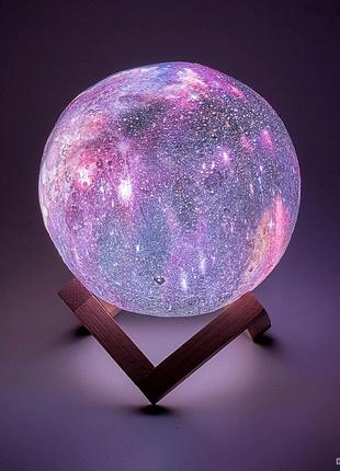 Дизайнерская, яркая Сенсорная лампа ночник 3D космос 18см