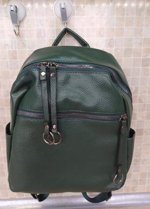 Новый мягкий зеленый женский рюкзак с эко-кожи