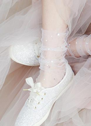 Прозрачные носочки со звездочками белые