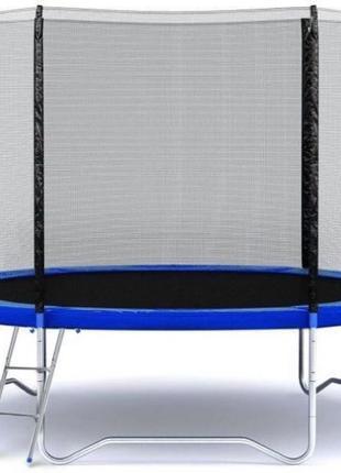 Батут FUNFIT с внешней сеткой 183 см синий + лестница