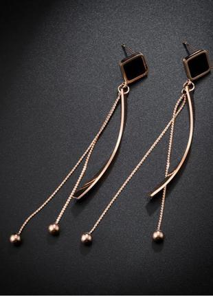 Серьги цепочки с черной эмалью.