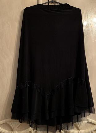 Шикарная юбка миди в пышной оборкой размер 54 ххл-3хл