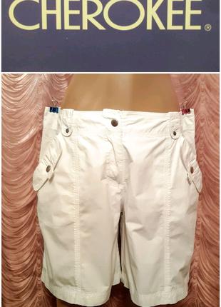 Белые шорты-бермуды 100% коттон. Cherokee.46 размер.