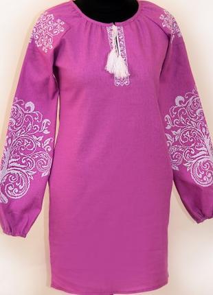 Женское вышитое платье Ольга (фиолетовый лен) (Украина)