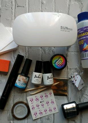 Набір для манікюру нігтів лампа гель лаки гель для нарощування