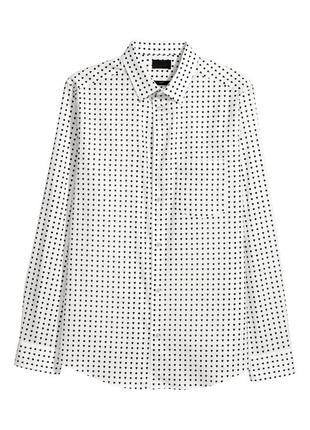 Белая хлопковая рубашка h&m , slim fit !
