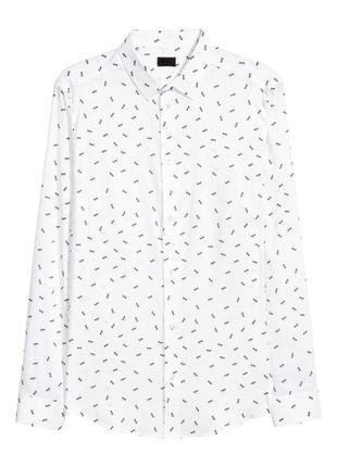 Белая рубашка h&m из поплина , slim fit !