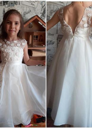 Выпускное новое белое платье с платье,спинка вырезом кружево, ...