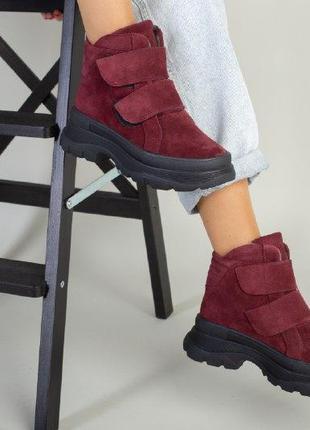 Женские ботинки на липучках бордовые