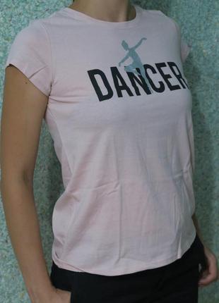Розовая футболка dancer, 100% хлопок