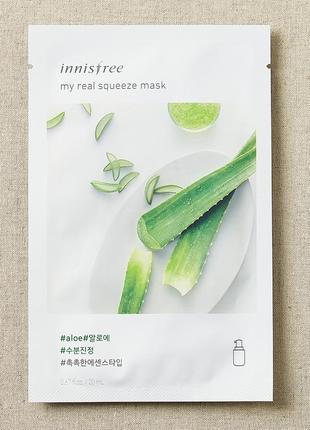 Корейские тканевые маски innisfree my real squeeze mask - aloe
