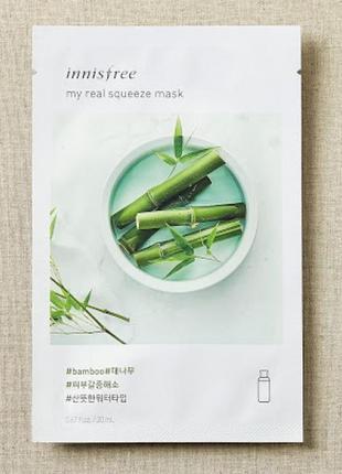 Корейские тканевые маски innisfree my real squeeze mask - bamboo