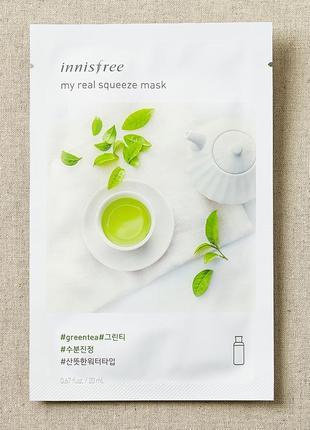 Корейские тканевые маски innisfree my real squeeze mask - gree...