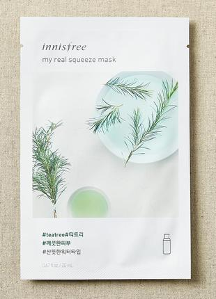 Корейские тканевые маски innisfree my real squeeze mask - tea ...