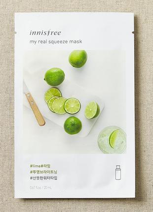 Корейские тканевые маски innisfree my real squeeze mask - lime