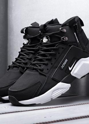 Мужские кроссовки nike air huarache acronym (черно/белые)