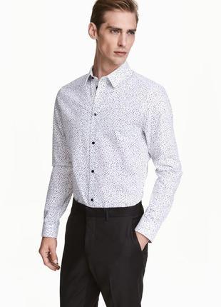Белая хлопковая рубашка h&m premium quality c рисунком !