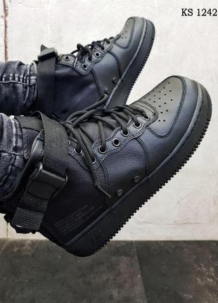 Мужские кроссовки nike sf air force 1 mid (черно/рыжие)