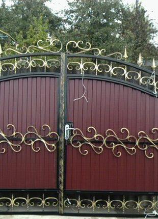 Изготовление арочных ворот с профнастила на заказ в Николаеве.