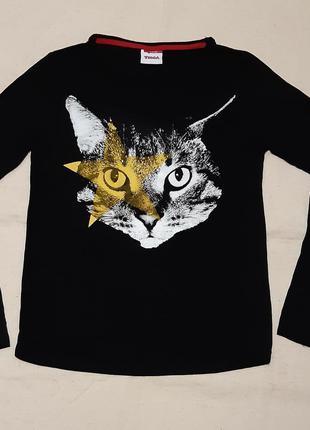 """Черный эксклюзивный реглан лонгслив кофта с принтом  кошка """"yi..."""
