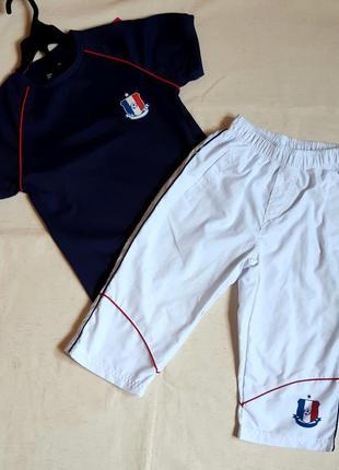 """Комплект спортивный футбол синяя футболка и белые бриджи """"bklw..."""