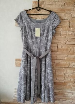 Хлопковое платье с кармашками,вышивка по ткани