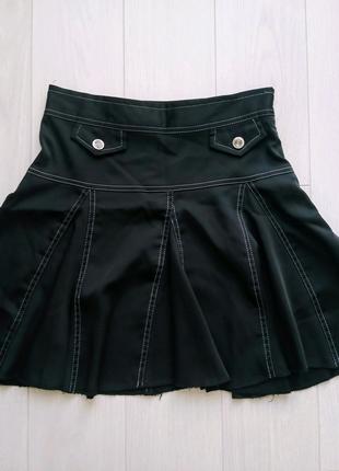 Детская школьная атласная юбка, черная юбочка на девочку в школу